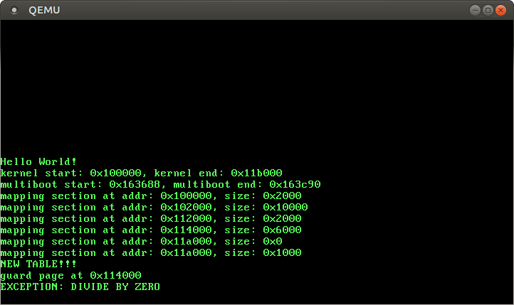 QEMU screenshot with EXCEPTION: DIVIDE BY ZERO message