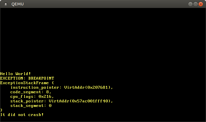 QEMU printing EXCEPTION: BREAKPOINT and the exception stack frame