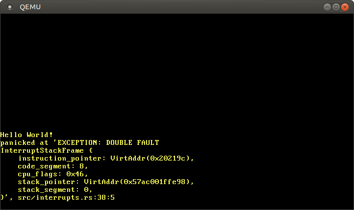 QEMU printing EXCEPTION: DOUBLE FAULT and the exception stack frame