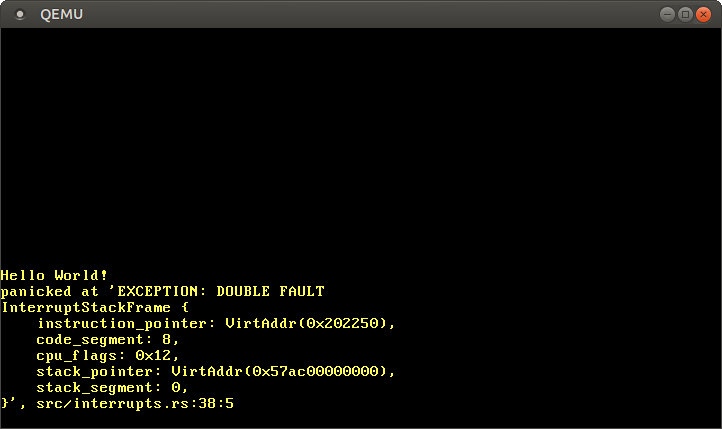 QEMU printing EXCEPTION: DOUBLE FAULT and a dump of the exception stack frame