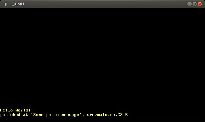 "QEMU printing ""panicked at 'Some panic message', src/main.rs:28:5"